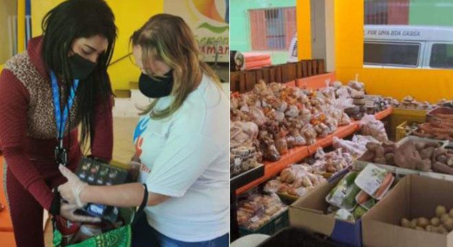 Voluntários organizam as doações de alimentos em São Paulo