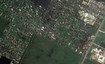Satellite imagery showing damaged homes near Lake Charles Memorial Hospital for Women, after Hurricane Laura hit, in Lake Charles, Louisiana, U.S. in this August 27, 2020 handout photo. Satellite image ©2020 Maxar Technologies/Handout via REUTERS
