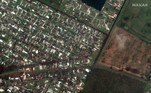 Satellite imagery showing damaged homes and Flounder Drive after Hurricane Laura hit, in Lake Charles, Louisiana, U.S. in this August 27, 2020 handout photo. Satellite image ©2020 Maxar Technologies/Handout via REUTERS