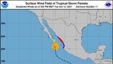 México declara alerta laranja devido ao furacão Pamela
