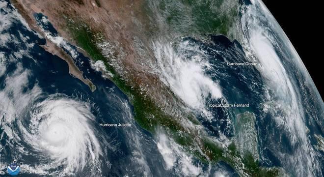 Furacões Dorian e Juliette e tempestade Fernand em volta dos EUA e México