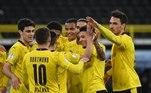 Pela semifinal da Copa da Alemanha, o Borussia Dortmund atropelou o Holstein Kiel e venceu o adversário por 5 a 0. Reyna, Reus, Hazard e Bellingham marcaram para os aurinegros