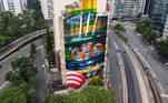 SP - GRAFITE-AYRTON-SENNA-CENTRO - GERAL - Vista do grafite do piloto Ayrton Senna realizado pelo artista Kobra no cento da cidade de São Paulo, SP, neste sábado, 02. 02/01/2021 - Foto: RONALDO SILVA/FUTURA PRESS/FUTURA PRESS/ESTADÃO CONTEÚDO