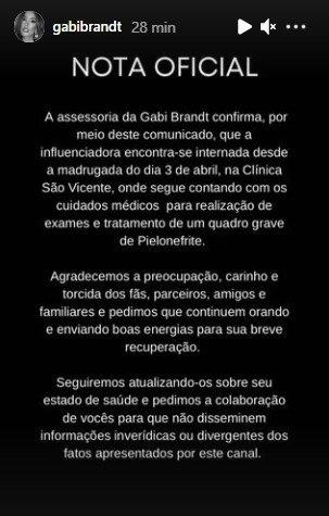 Comunicado da assessoria de imprensa da Gabi Brandt