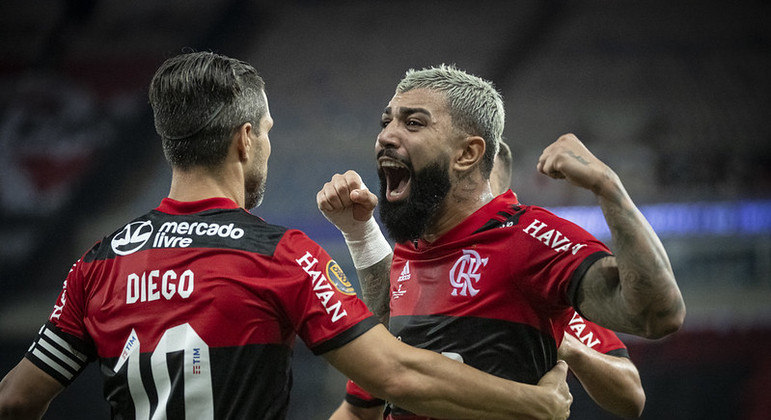 Gabigol fez sua comemoração clássica após marcar na final contra o Fluminense