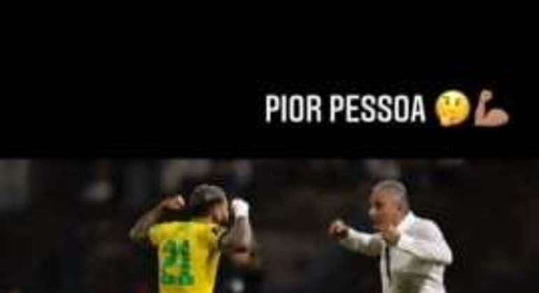 Gabigol faz post com Tite - Eliminatórias Brasil x Venezuela 2021