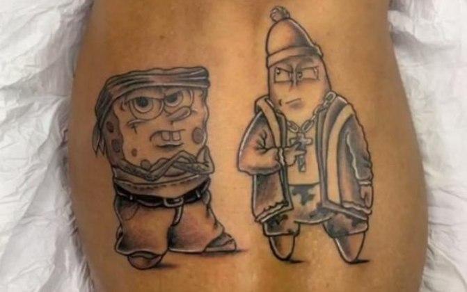 Gabigol tem inúmeras tatuagens exóticas. Uma delas são os personagens Bob Esponja e Patrick, mas num estilo totalmente diferente, voltado à 'Thug Life'