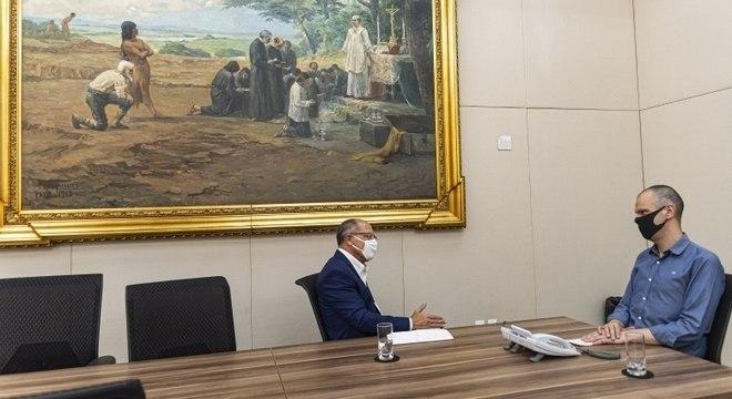 Prefeito de SP, Bruno Covas, tem reunião em gabinete na sede do Executivo municipal
