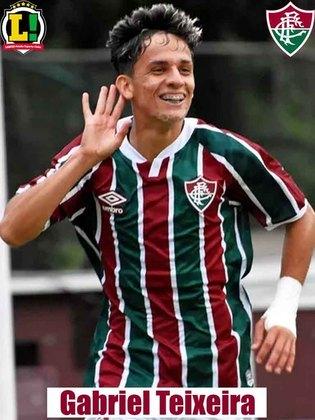 GABRIEL TEIXEIRA - 8,0 - Novamente, destacou-se por sua qualidade de passe e por não se omitir em campo. Apresentou-se para investidas e criou a jogada do gol de Yago Felipe. No segundo tempo, teve senso de colocação para marcar o segundo gol tricolor. Abriu espaços para o ataque do Fluminense avançar.