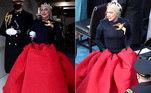Já Lady Gaga brilhou como a artista escolhida para cantar o hino dos Estados Unidos na cerimônia. De tranças, vestido vermelho e um broche de pássaro, a cantora foi comparada na web à personagem Katniss Everdeen, da saga 'Jogos Vorazes'.A assinatura do look é da grife Schiaparelli Haute Couture, desenhado por Daniel Roseberry