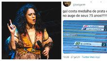 Gal Costa brinca com xará em Olimpíada: 'Sou prata'