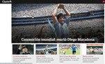O portal argentino Clarín, um dos primeiros a dar a notícia, dedicou sua capa ao craque.