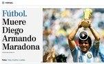 Na Espanha, o El Mundo estampou Maradona, sua trajetória, suas vitórias e suas quedas, em sua primeira página