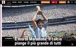 Na Itália, onde Maradona viveu alguns dos maiores momentos de sua carreira com a camisa do Napoli, a Gazzetta Dello Sport disse que
