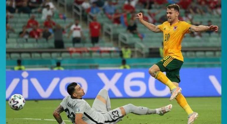 O momento do gol de Ramsey