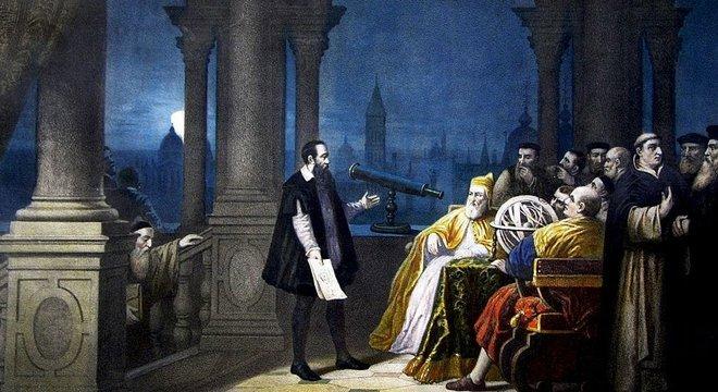 Galileu mostrando o telescópio a Leonardo Donato, dirigente de Veneza, em pintura de H.J. Detouche