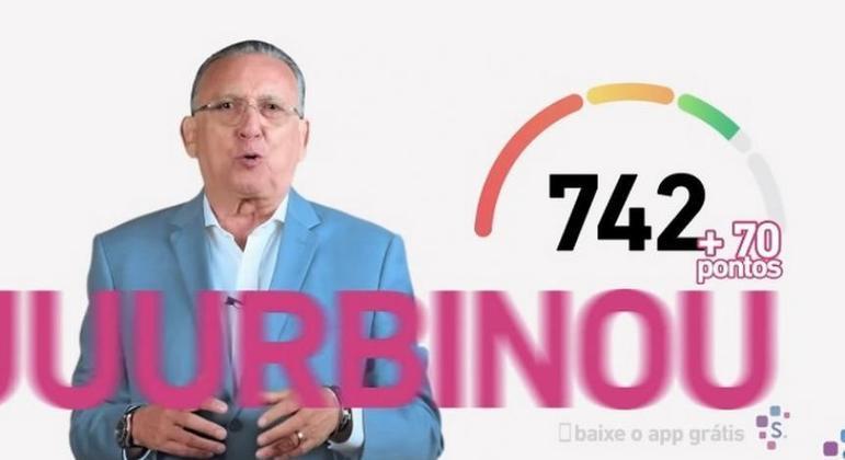 Galvão Bueno fazendo propaganda para a Serasa. Rara publicidade
