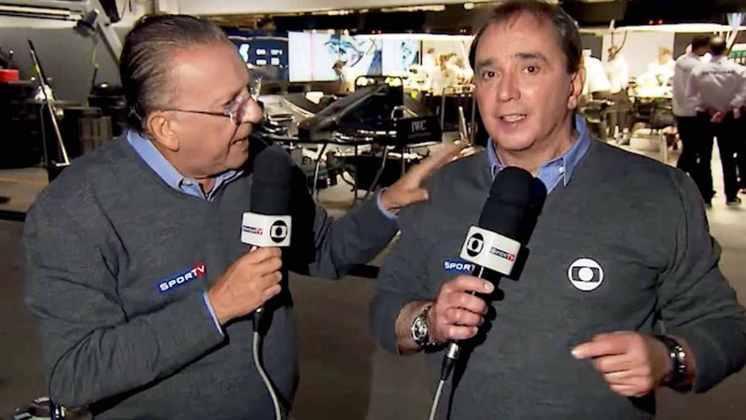 Galvão Bueno e Reginaldo Leme inclusive se tornaram a dupla mais conhecida do Brasil no assunto F1 (Foto: Reprodução)