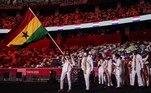 Outra delegação que entrou demonstrando animação foi a de Gana. A atleta Nadia Eke, que carregou a bandeira do país africano, passou pela apresentação dançando e demonstrando bastante alegria