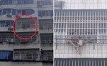 Um garotinha de 5 anos ficou pendurada pelo pescoço a cerca de 15 m do chão, em um prédio de Zaoyang, na China