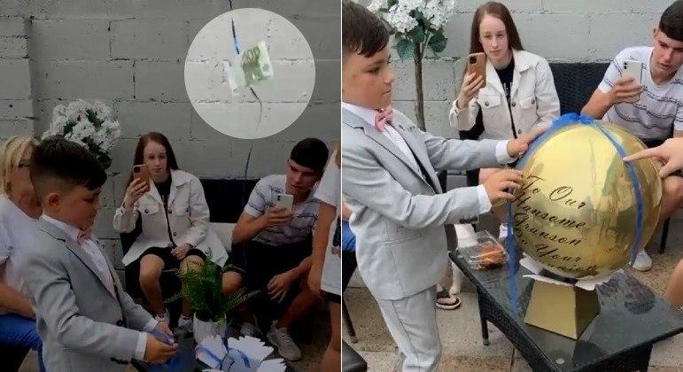 Garoto recebeu 100 euros de presente, mas dinheiro acabou indo embora com balão