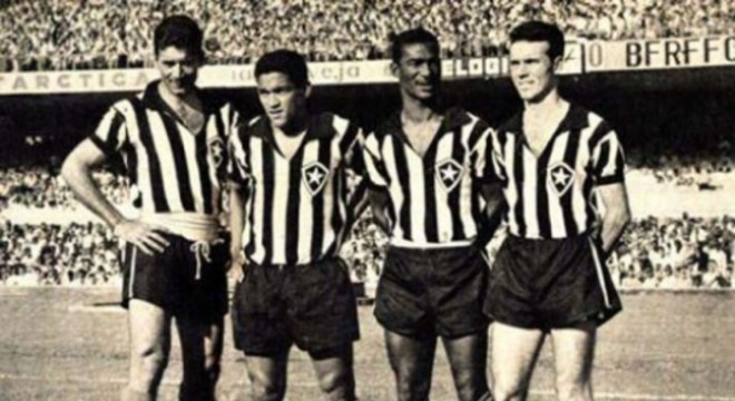 Garrincha, no Botafogo - Nilton Santos, Garrincha, Didi e Zagallo