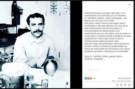 Notícia falsa circula nas redes sociais dizendo que Gaspar Vianna teria inventado a hidroxicloroquina