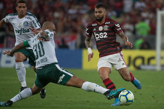 Gastos salariais e custos com futebol total: Flamengo (R$ 300 milhões e 618 milhões) e Palmeiras (267 milhões e 552 milhões)