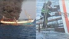 Gatos são resgatados de barco em chamas e prestes a naufragar