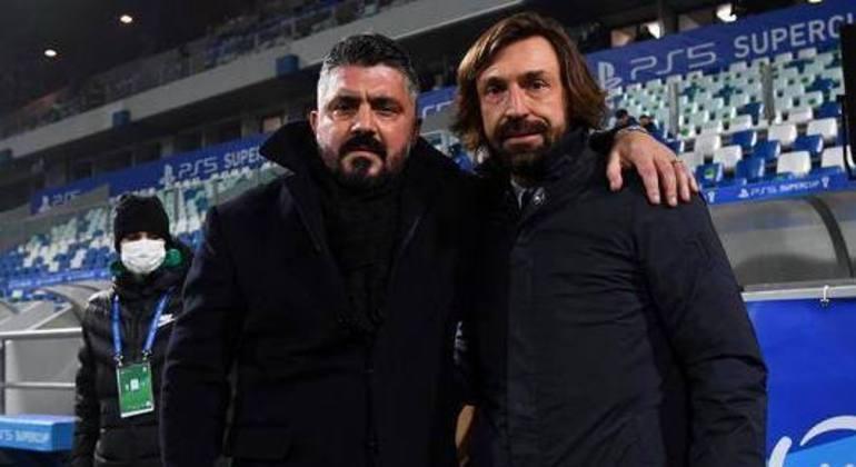 """Gattuso e Pirlo, ex-companheiros de Milan e de """"Azzurra"""""""