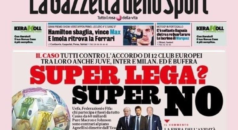 """Capa furiosa da """"Gazzetta dello Sport"""""""