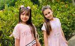 As gêmeas de Natália Guimarães e Leandro, do grupo KLB, ganharam perfil próprio nas redes sociais com poucos anos de vida. Aos 8 anos, Maya e Kiara somam mais de 357 mil seguidores e dividem um pouco da rotina, com direito a brincadeiras, passeios e viagens