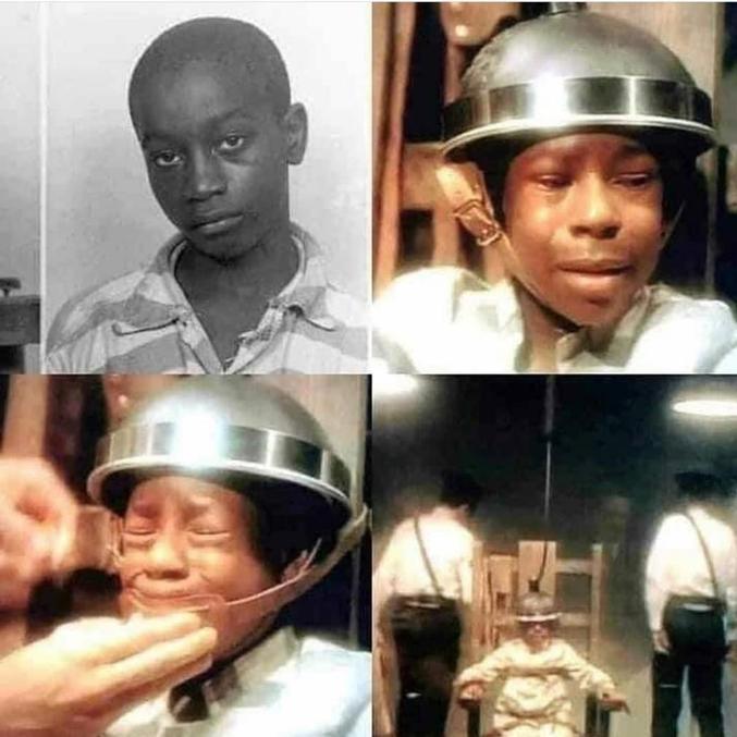 O garoto George Junius Stinney Jr no dia de sua execução em cadeira elétrica