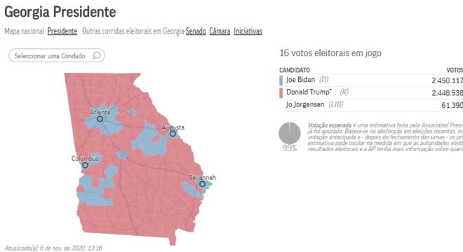 O voto de 16 delegados na Geórgia pode definir disputa pela Casa Branca