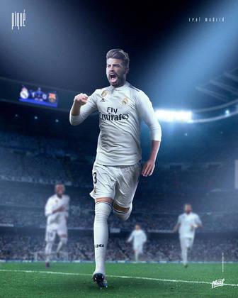 Gerard Piqué, ídolo do Barcelona, vestindo as cores do rival Real Madrid.