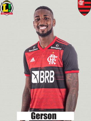 Gerson - 6,5 Peça chave nesse esquema do Flamengo. Importante para começar as jogadas. Fez uma partida segura, com bons passes. Não comprometeu.