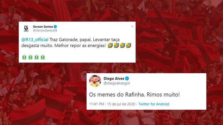 Gérson e Diego Alves usaram as redes sociais para também brincarem com a situação. Em live após o título, Rafinha voltou a brincar com a situação e, enquanto bebia uma taça de vinho, afirmou que era Gatorade de uva.