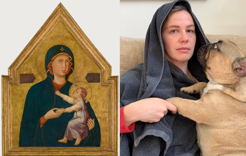 Mulher recriou obra ao lado do cachorro