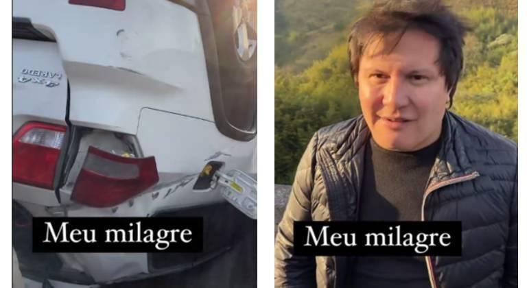 A esposa do cantor divulgou imagens do momento do acidente