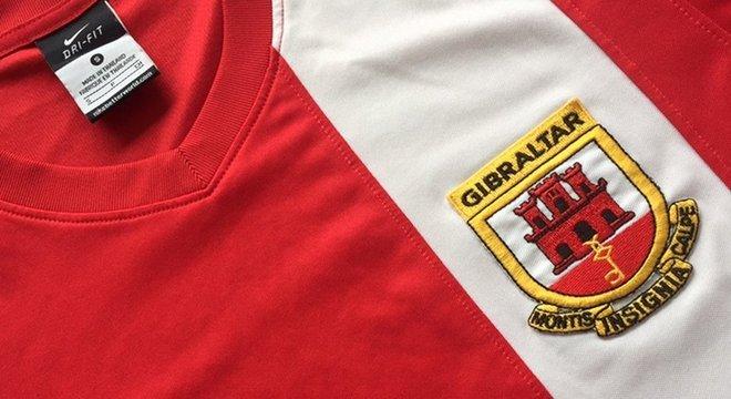 O distintivo da seleção de Gibraltar