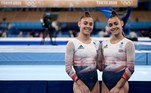 Britain's Jennifer and Jessica Gadirova pose during the artistic gymnastics balance beam event of the women's qualification during the Tokyo 2020 Olympic Games at the Ariake Gymnastics Centre in Tokyo on July 25, 2021.