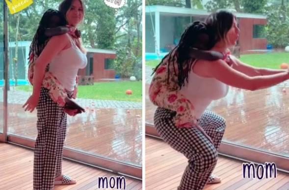 Giovanna mostrou treino com a filha Titi nas costas