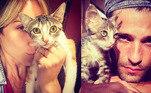Giovanna Ewbank e Bruno Gagliasso têm amor de sobra para o gatinho Erick, batizado por Titi, a primeira filha do casal.A casa da família ainda conta com 7 cachorros