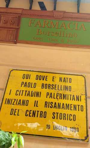 Placa mostra onde Borsellino nasceu