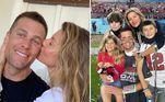 Gisele Bündchen e o astro da NFL Tom Brady também fazem muito sucesso com os fãs. O casal sempre compartilha fotos da família e faz declarações um para o outro. Na pandemia, a modelo aproveitou que todos estavam juntos e postou vários vídeos com o marido e os filhos