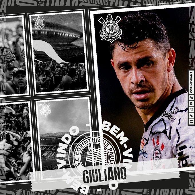Giuliano é do Corinthians. Dois anos e meio de contrato. Inter e Grêmio perderam a disputa