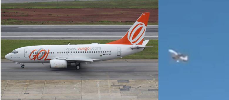 Detalhe da aeronave gravada ao sobrevoar Guarulhos após o incidente
