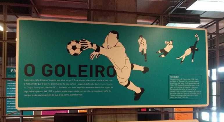 Banner do Museu do Futebol explica que a posição de goleiro surgiu em 1871, há 150 anos