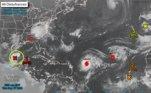 Nesta manhã, o Centro Nacional de Furacões dos EUA alertou para uma nova tormenta, também no golfo do México (no detalhe em verde na imagem). Há 90% de chances de que se forme uma depressão tropical ou uma tempestade tropical, que seria batizada de Wilfred, nas próximas horas