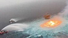 Incêndio perto de plataforma de petróleo gera cenas assustadoras